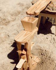 wooden water wheel with wooden water ways